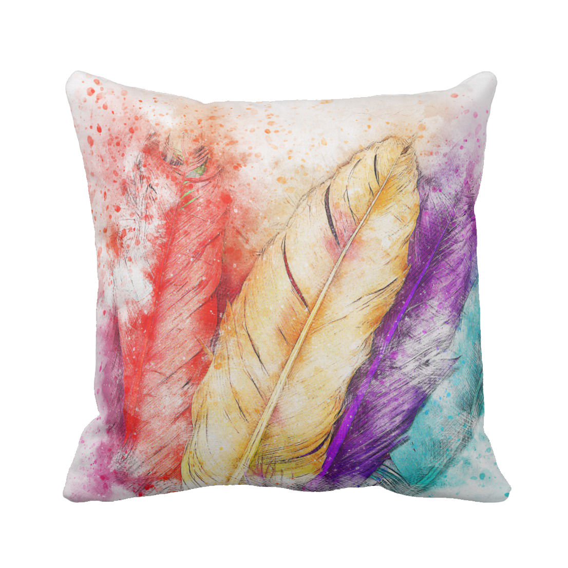 colorful watercolor feathers throw pillow jomazzle. Black Bedroom Furniture Sets. Home Design Ideas