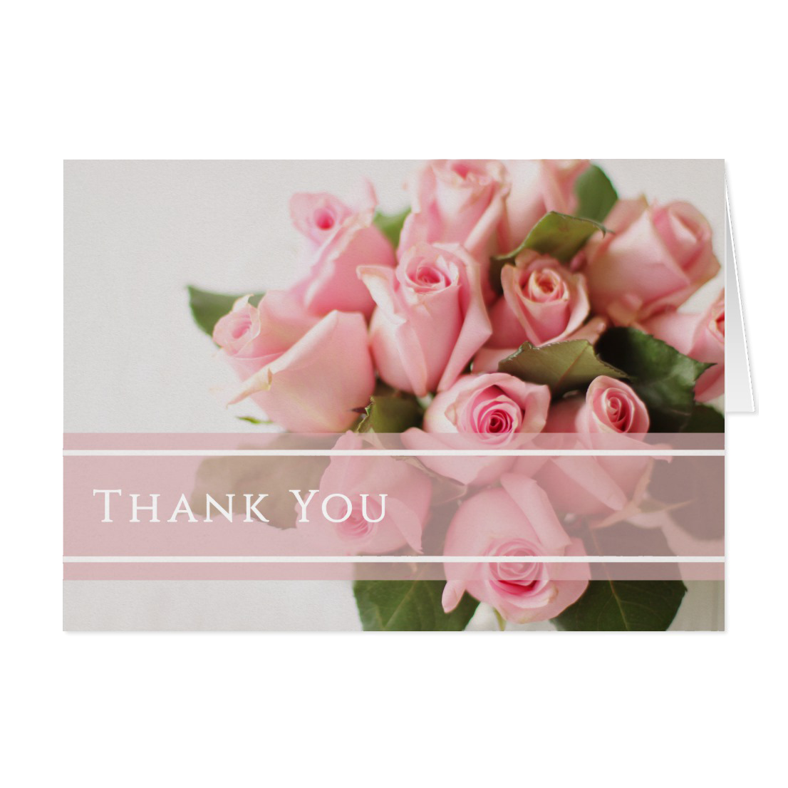 pink bouquet roses thank you note card front