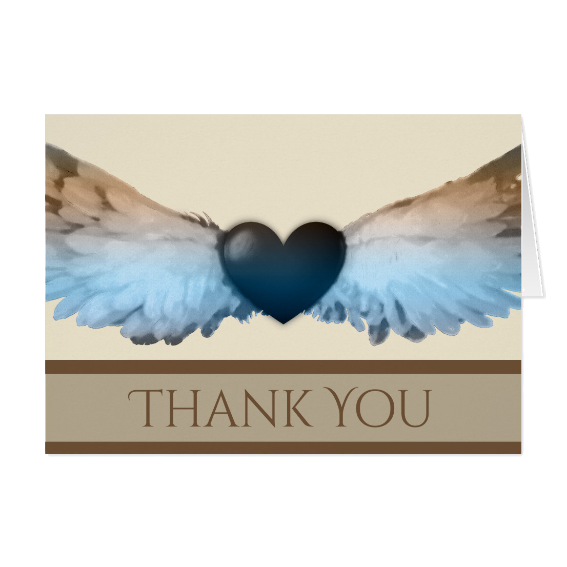 watercolor angel wings heart thank you note card - Thank You Note Cards